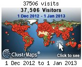 ClustrMap visitors in Dec 2012 to my blog
